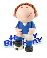 Blue Footballer Resin Topper with Happy Birthday Motto